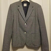 Gap Women's the Academy Blazer Navy White Stripe Polyester Size 12 Pre-Owned  Photo