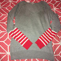 Gap Womens v-Neck Gray Red Striped Sequin Long Sleeve Sweater Top S Photo