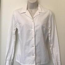 Gap Women's White Contrast Stripe Long Sleeve Button Shirt Blouse Top Sz Xs Photo