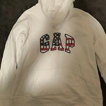 Gap Womens White Patriotic Flag Hoodie Size Large New Nwt Photo