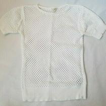 Gap Women's White Summer Sweater Size Xs Extra Small Net 100% Cotton Open Weave Photo
