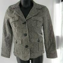 Gap Womens Wool Blend Blazer Ivory & Black Buttons Pink Lined Size Medium Photo