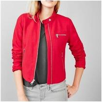 Gap Womens Wool Blend Cropped Red Moto Jacket. Sz S Photo