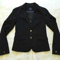 Gap Womens Wool Blend Navy Blue Fitted Blazer Jacket Two Buttons Lined Size 0 Photo