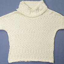 Gap Women Size Small Knit Sweater Top Ivory Cowl Collar Short Sleeves Cotton Photo