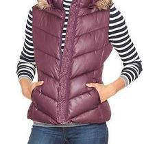 Gap Women Vest Faux Fur Trim Hooded Puffer Purple Size L Sale New Nwt 70 Photo