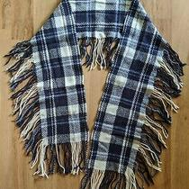 Gap Women Wool Rabbit Hair Blue Rectangle Plaid Scarf Wrap Fringe Photo