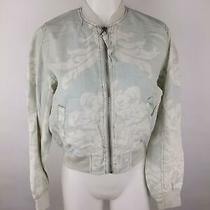 Gap Women Xs Teal Linen Cotton Floral Lined Pockets Full Zip Khaki Bomber Jacket Photo