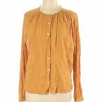 Gap Women Yellow Long Sleeve Button-Down Shirt L Photo