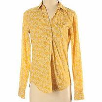 Gap Women Yellow Long Sleeve Button-Down Shirt Xs Photo
