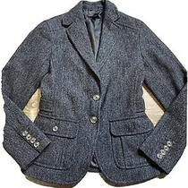 Gap Womens 100% Wool Herringbone Blazer Jacket Size 0 Gray Classic Short Photo