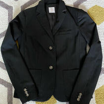 Gap Womens Academy Blazer Jacket Size 2 Black Textured 2 Button Classic Photo