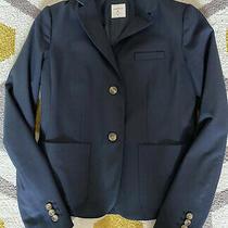 Gap Womens Academy Blazer Jacket Size 2 Navy Textured 2 Button Classic Photo