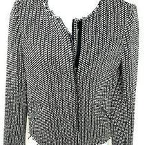 Gap Womens Blazer Collarless Jacket Raw Edges Zip Front Tweed & Lined Size 6 Photo