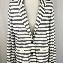 Gap Womens Blazer Jacket Blue White Stripe Nautical Cotton Blend Sz Large Photo