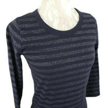 Gap Womens Blue Silver Sparkle Striped Long Sleeve Top Size Xs Photo