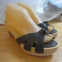Gap Womens Brown Leather Wood Platform Sole Clog Slides Sandal Shoe 8 48.5 Nwt Photo