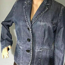 Gap Womens Denim Fitted Lined Jacket Pockets Uk Size 10 Denim Blue Great Cond Photo