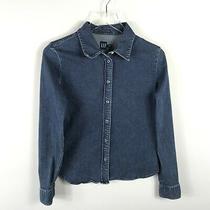 Gap Womens Denim Snap Button Shirt Size M Blue Long Sleeve Collared Top Stretch Photo