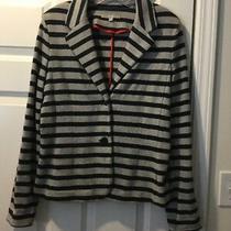 Gap Womens Knit Blazer Jacket Navy Blue & Gray Striped Long Sleeves Sz Medium M Photo