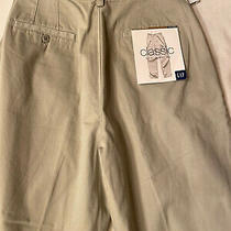 Gap Womens Ladies Khaki Pleated Fit High Rise Tapered Leg Casual Pants Size 8 R Photo