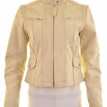 Gap Womens Leather Jacket Size 10 Small Beige Leather  Ei10 Photo