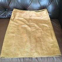 Gap Womens Leather Size 10 Skirt  Caramel 100% Genuine Preowned Photo