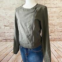 Gap Womens Linen Blend Zipper Moto Jacket Size Xs Olive Green Photo