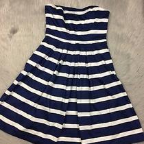 Gap Womens Navy White Stripe Strapless Pocket Pleated Dress Sz 2 Photo