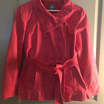 Gap Womens Pink Cotton Belted Peacoat Jacket Coat Size M Coral Photo