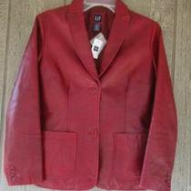 Gap Womens Red Leather Jacket   Size Xs Photo