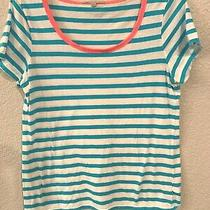 Gap Womens Scoop Neck Striped  Soft Tee Blue White Pink Size M  Cotton & Modal Photo