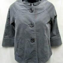Gap Womens Size 2 Gray Velvet Big Button 3/4 Sleeve Swing Style Coat Jacket Photo