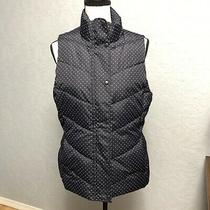 Gap Womens Size Medium Navy White Polka Dot Puffer Vest Full Zip Pockets Zp Photo