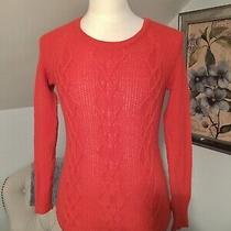 Gap Womens Size Small Orange Cable-Knit Crewneck Sweater Photo