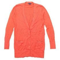 Gap Womens Size Xs Cotton Blend Orange Cardigan (Regular) Photo