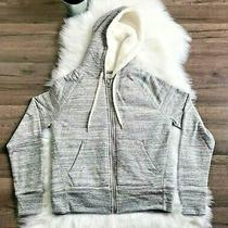 Gap Womens Size Xs Faux Sherpa Lined Full Zip Up Hooded Sweatshirt Gray Jacket Photo