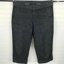 Gap Womens Stretch Black Denim Capri Cropped Pants Cuffed Size 10 Photo