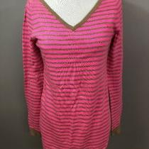 Gap Womens Sweater Maternity Wool Blend Shirt Top Medium M Neon Striped Pink Photo