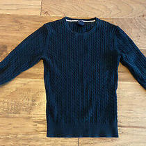 Gap Womens Sweater S Small Black v Neck Pullover 3/4 Sleeve Stretch Cable Knit Photo