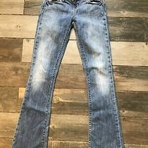 Gap Womens Vintage Flare Jeans Blue Medium Wash Stretch Whiskered Pockets 29x34 Photo
