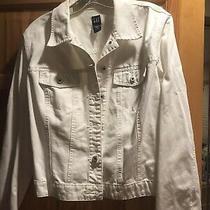 Gap Womens White Denim Jacket Size Large but Fits Smaller Like Medium Photo