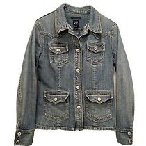 Gap Womens Xs Blue  Western Denim Jean Jacket Stretch Excellent Pre Owned Photo