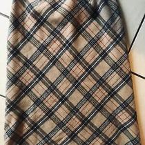 Gap Wool Blend a-Line Skirt Tan Grey and Red Plaid Size 8 Lined Photo