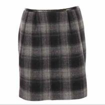 Gap Wool Blend Black Gray Plaid Pencil Skirt 8 Photo
