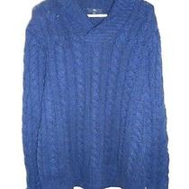 Gap Xl Mens Sweater Shawl Collar Wool Blend Navy Blue Cable Knit Chunky Winter Photo