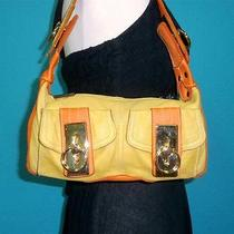 Gap Yellow Orange Leather Small Messenger Satchel Tote Shoulder Purse Bag Photo