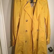 Gap Yellow Trench Coat Tortise Buttons Womens M Photo