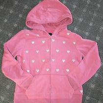 Gapkids Girl's Size 8-9 Med Hoodie Sweatshirt Rose/mauve Color W/ Silver Hearts Photo