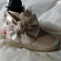 Garanimals Girls Toddler Zip-Up Shimmer Ankle Boot Blush With Bow Size 6 Nwt Photo